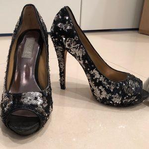 Badgley Mischka black and silver sequin heels
